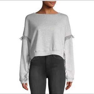 BLANK NYC grey cropped top with LONG beading XS